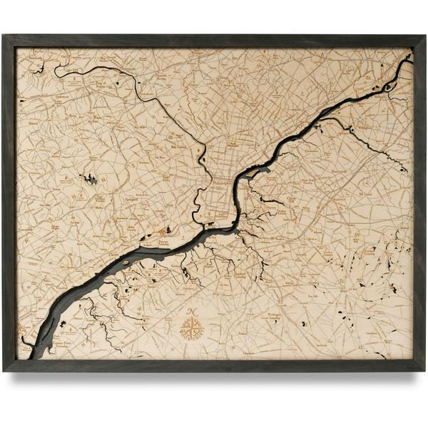 philadelphia coastal blue grey nautical wood map