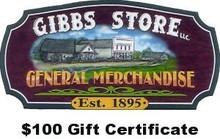 $100 Gibbs Store Gift Certificate