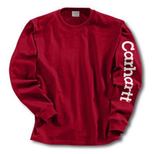 Carhartt Boys Red Logo Long Sleeve T-Shirt