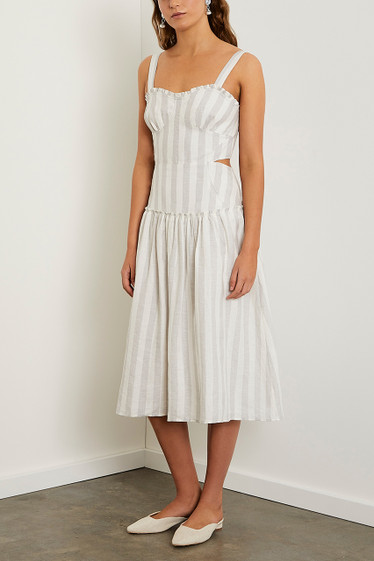 Monroe Midi Dress, Cloud Stripe