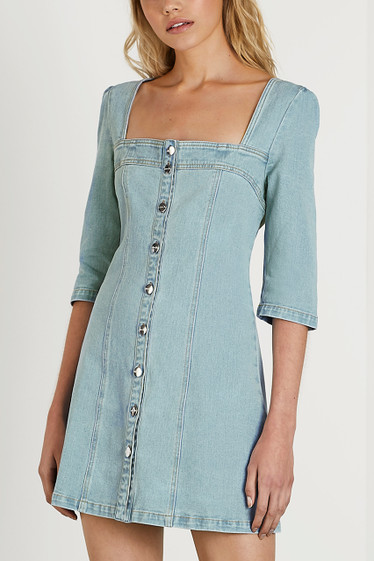 Milena Shift Dress, Blue Wash
