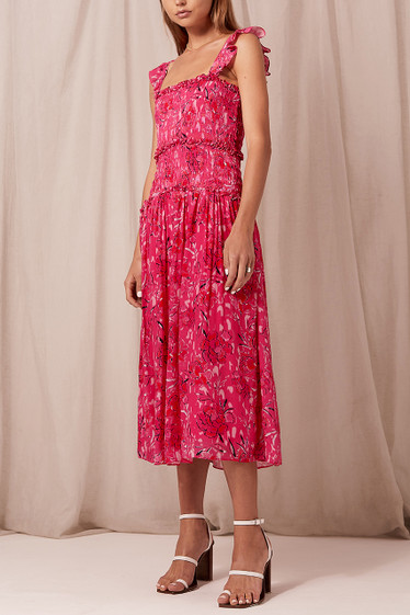 Bahati Shirred Midi Dress