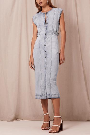 Eddie Midi Dress, Blue Wash