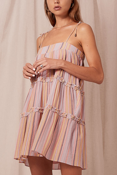 Ariana Swing Dress, Sunset Stripe