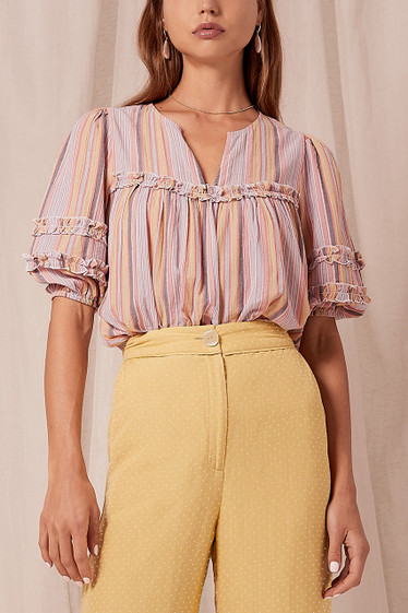 Ariana Blouse, Sunset Stripe