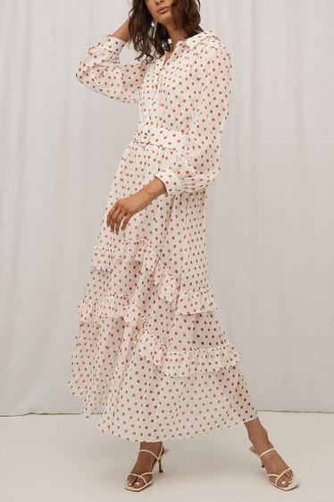 Quinn Dress, Blanc Polka