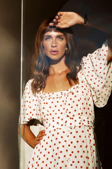 Daydream Dress, Blanc Polka