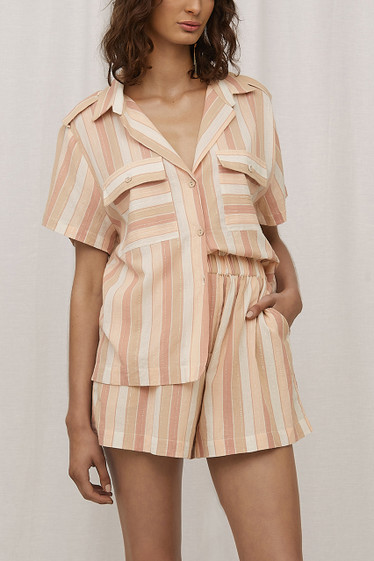Yumi Shirt, Toffee Stripe