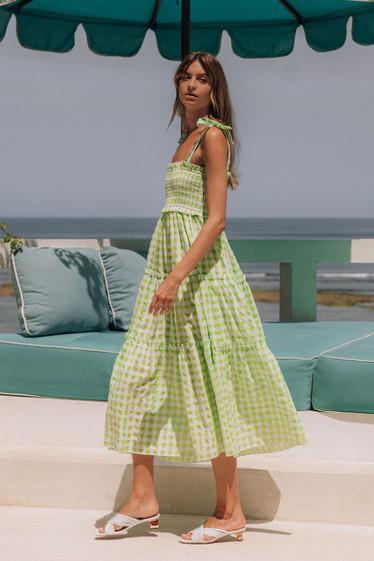 Lyla Dress, Lime Check