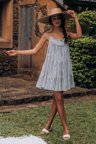 Alfie Dress, Mono Stripe