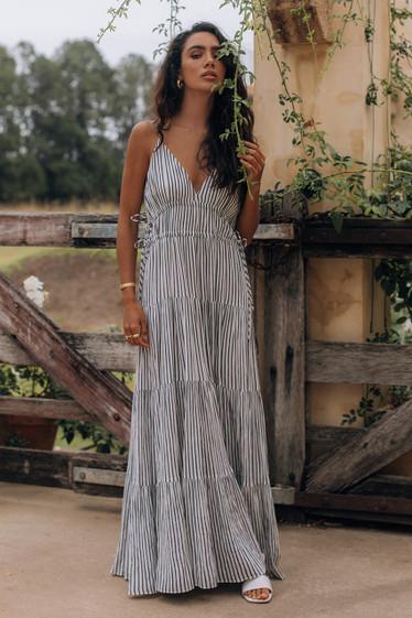 Cannes Dress, Mono Stripe