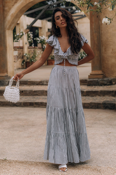 Nanette Skirt, Mono Stripe