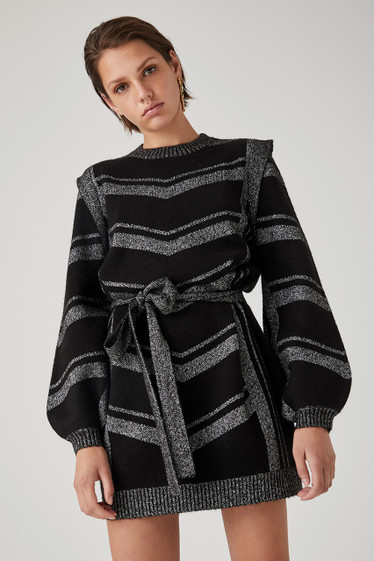 Lopez Knit Dress, Noir Flicker