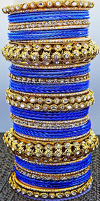 Dark Blue Metal Bangle set, buy online now. Free Shipping.