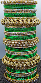 Green Metal Bangle set, buy online now. Free Shipping.