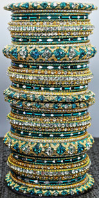 Exclusive Stoned worked Blue Bangle set, buy online now. Free Shipping.