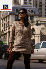Light Brown Kurti with mirror work & embroidery| Buy Now