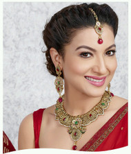 Exclusive Green & Red necklace set. Matching earring sets & Tikka piece.  Great value.   Buy Now