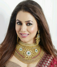 Exclusive Green & Red necklace set. Matching earring sets.  Great value.   Buy Now