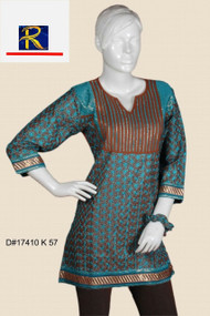 Brown cotton Kurti | Full Body Blue embroidery with highlights | Excellent Buy
