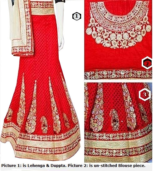 Buy Now | Semi-Stitched |Blood Red with Cream Duppata adorned with Sequins & Stones | Un-stitched blouse| Buy Now | Free Delivery | Stitching Available.
