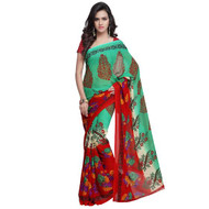 Buy Now   Green & Red Georgette Saree   Matching Blouse Piece   Free Delivery Australia wide
