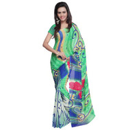 Buy Now   Gre Blue Georgette Saree   Matching Blouse Piece   Free Delivery Australia wide
