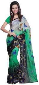 Buy Now | Green & Black Georgette Saree | Matching Blouse Piece | Free Delivery Australia wide