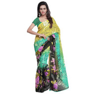 Buy Now | Green & Yellow with Black Boarder Georgette Saree | Matching Blouse Piece | Free Delivery Australia wide