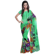 Buy Now   Green with Black Boarder Georgette Saree   Matching Blouse Piece   Free Delivery Australia wide