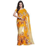 Buy Now   Cream & Yellow Georgette Saree   Matching Blouse Piece   Free Delivery Australia wide