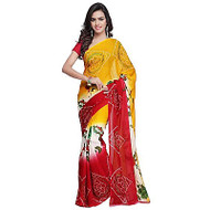 Buy Now    Golden Yellow & Red Georgette Saree   Bhandini Artwork  Matching Blouse Piece   Free Delivery Australia wide