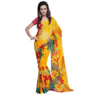 Buy Now   Golden Yellow Floral Motif Saree   Matching Blouse Piece   Free Delivery Australia wide