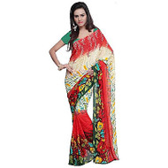 Buy Now   Cream & Red Saree   Matching Blouse Piece   Free Delivery Australia wide