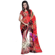 Buy Now | Blood Red & Cream Georgette Saree|  Single piece item | Matching Blouse piece