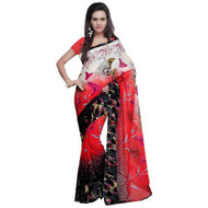 Buy Now | Red & Black with Cream printed Georgette Saree | Single piece item | Matching Blouse piece