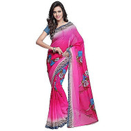 Buy Now   Bright Pink printed Georgette Saree   Single piece item   Matching Blouse piece   Grab it!