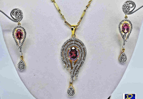 Exclusive Pendant Set | Set in striking Pink &  clear American Stones | Sparkling AD Pendant  | Buy online now | Free Shipping Australia wide