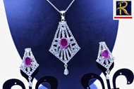 Exclusive Pendant Set | Set with bold Pink Stone &  clear American Stones | Sparkling AD Pendant  | Buy online now | Free Shipping Australia wide