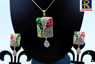 Exclusive Pendant Set   Set in Red & Green motif in AD Stone Clear AD Stone   Sparkling AD Pendant    Buy online now   Free Shipping Australia wide