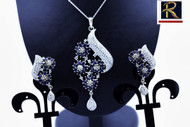 Exclusive Pendant Set |in Blue AD Stone setting | Sparkling AD Pendant  | Buy online now | Free Shipping Australia wide