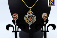 Exclusive Pendant Set  Stunning  Red stone motif  in AD Stone setting   Sparkling AD Pendant    Buy online now   Free Shipping Australia wide