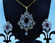 Exclusive Pendant Set   Bold Red stone motif  in AD Stone setting   Sparkling AD Pendant    Buy online now   Free Shipping Australia wide