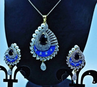 Exclusive Pendant Set  Red & Blue stoned in AD Stone setting   Sparkling AD Pendant    Buy online now   Free Shipping Australia wide