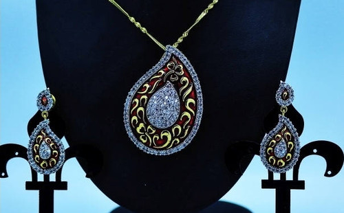 Exclusive Pendant Set |Red & Gold motif in AD Stone setting | Sparkling AD Pendant  | Buy online now | Free Shipping Australia wide