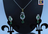 Exclusive Pendant Set   Green motif in AD Stone setting   Sparkling AD Pendant    Buy online now   Free Shipping Australia wide