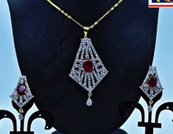 Exclusive Pendant Set   Red Stones in AD Stone setting   Sparkling AD Pendant    Buy online now   Free Shipping Australia wide