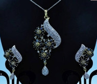 Exclusive Pendant Set   Black Stones in AD Stone setting   Sparkling AD Pendant    Buy online now   Free Shipping Australia wide