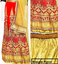 Red & Cream Lehenga Choli Set | Cream  Dupatta & Gold Blouse Piece | Semi Stitched | Buy Now