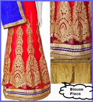 Red Lehenga Choli Set | Blue Dupatta & Gold Blouse Piece | Semi Stitched | Buy Now
